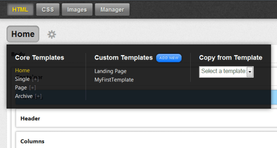 Thesis Theme 2.0 Skin Editor Select Template